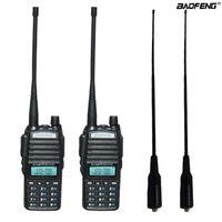 transceptor 3km al por mayor-2 unids / set Radio bidireccional portátil UV 82 Radio PTT dual BaoFeng UV-82 Transmisor-receptor bidireccional de banda dual + antena suave larga 771