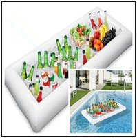 Wholesale drink cups holder for sale - Group buy inflatable salad bar buffet ice bucket cup drink holder swimming bathing pool Floating row toy party decoration bar coasters