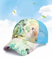 şapkalar kapaklar çiçekler toptan satış-2019 Yeni Dantel Çiçek Şapka Yaz Mesh Nefes Beyzbol şapkası Kadın Açık Boş Güneşlik Ayarlanabilir Snapbacks Trucker Şapka M640F Caps
