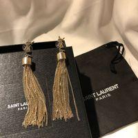 candelabros famosos al por mayor-Y pendientes de lujo de la borla pendientes del perno prisionero famoso diseñador de joyas de oro Boucle d 'oreille tachuelas araña larga borla earing increíble regalo