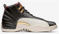 yüksek kavrama ayakkabıları toptan satış-Kutu ile Yüksek Kalite 12 12 s OVO Beyaz Gym Kırmızı Koyu Gri Basketbol ayakkabı Erkek Kadın Taksi Mavi Süet Gribi Oyunu CNY Sneakers boyutu 40-47