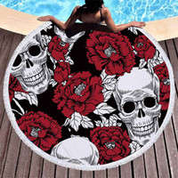 Wholesale large outdoor beach mat resale online - 2019 Color Skull Head Series Round Beach Towel Price Large Microfiber Mat Blanket Outdoors Sports Swimming beach towels drop ship in Towel