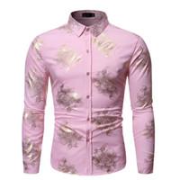 ingrosso camicia di colore rosa-Autunno Uomo Camicie Casual Slim Fit Streetwear stampate variopinte risvolto rosa Fashion Blouse Button Up Camicia manica lunga