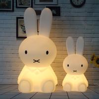 bebek odası karikatürleri toptan satış-Dim 80 CM Tavşan Lamba Bebek Çocuklar Çocuklar için Led Gece Lambası Çocuk Hediye Hayvan Karikatür Başucu Yatak Odası Oturma Odası Dekoratif