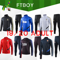 Wholesale grey jogging suit resale online - 2020 Men football training tracksuit Real madrid soccer training suit ajax survetement de foot chandal Football jogging
