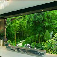 3d Sur Mesure Peinture Murale Papier Peint Salon Chambre Sofa Tv Fond D écran Green Bamboo Fresh Green Photo Wallpaper étanche