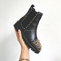 Wholesale red bottom heel boots women for sale - Group buy 2019 Fashion luxury designer women boots red bottoms women Boot Girls Designer Luxury Shoes With Studded Spikes Party Boots Winter ck2501124