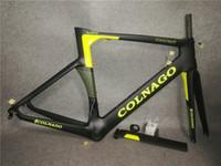 mat karbon çatalı toptan satış-Colnago Konsept Kükürt Sarı çerçeve Yol bisikleti Çerçeve tam karbon fiber bisiklet çerçeve Kırmızı ile BB386 Çerçeve + Seatpost + Çatal + Kelepçe + Kulaklık