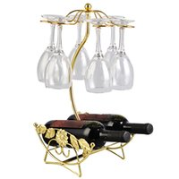 ingrosso appendiabiti per bicchieri di vino-Portabottiglie Portabottiglie di vino Portabicchieri in vetro Display Bottiglie di champagne Stand Appesi bicchieri Bicchieri Calici Scaffale
