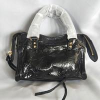ingrosso borsa di motociclo dell'annata-Nuove donne mini borse 18 centimetri moto vintage borse a spalla in vera pelle borchie rivetto donne designer di lusso piccola città borse di alta qualità