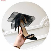 Wholesale ornament sandals resale online - Runway style for the fashion show Tulle knot ornament breathable sandals Elegant charm sandals for women
