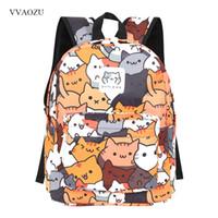 Wholesale cute backpacks for girls resale online - Anime Neko Atsume Women Backpack Cartoon Mochila for Girls Boys Travel Rucksack Cute Cat Printing Shoulder Bag for