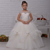 Wholesale rhinestone beading for dresses for sale - Group buy Luxury Flower Girl Dress with Beading Bows Girls Birthday Dress Puffy Tulle Flower Girl Dress For Special Occasion Vestidos