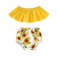 Wholesale autumn winter baby clothing for sale - 2pcs Baby girl crop top off shoulder sunflower shorts pants summer clothes outfit fashion childdren clothing