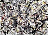 pintura al óleo blanco rojo negro al por mayor-Jackson Pollock plata sobre Negro Blanco Amarillo Rojo y decoración del hogar pintado a mano de la impresión de HD pintura al óleo del arte de la pared en lona lienzo 200207