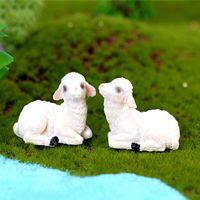 cabra de resina venda por atacado-10 pcs Figurinhas de Cabra do Fazendeiro Animal Resina Artesanato Terrário Figurines Resina Fada Jardim Miniaturas bonsai Ferramentas jardin gnome Micro Paisagem