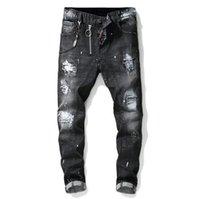 herren gemalte jeans großhandel-Unique Mens Painted Rips Stretch Schwarze Jeans Modedesigner Slim Fit Washed Motocycle Denim Hose Panelled Hip HOP Hose 1012