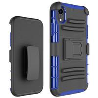 clip gummi großhandel-Für iphone xr verteidiger fall 3in1 schwere robuste gummi case abdeckung mit clip für iphone xr xs max