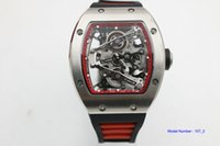 Wholesale hand bands sport for sale - Group buy hot sell Man rm038 watch rubber band black dial wacth silver case Automatic red circle watch