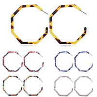 bohem halka küpeler toptan satış-Moda Bohemian Kadınlar Akrilik Küpe Hoop Hafif Reçine Küpe Geometrik Sekizgen Bildirimi Saplama Küpe Takı Hediyeler
