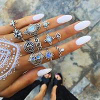 ingrosso pietre preziose d'epoca-11 pezzi / lotto donne all'ingrosso argento wedding ring set per le donne Retro stile vintage boho boemia signora della pietra preziosa della lega gioielli economici
