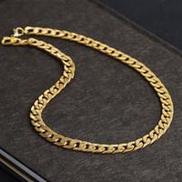 collar de cadena de oro real de 18k. al por mayor-Nunca se desvanece Collar de cadena Figaro de acero inoxidable 4 tamaños Joyería de los hombres 18K Real chapado en oro amarillo 9mm collares de cadena para mujer