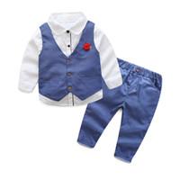 ingrosso puntino rosso del vestito del bambino-T-shirt a maniche lunghe per neonato T-shirt + Dot Vest + Dot Pantaloni Tuta sportiva con fiore rosso, Pantaloni per neonato da uomo blu, rosso, grigio