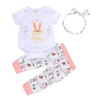 bebek tavşan pantolonu toptan satış-Bebek kızlar Paskalya INS güzel tavşan tulum 2019 yeni Yenidoğan Kısa kollu tulum + pantolon + Saç bandı bebek giysileri B
