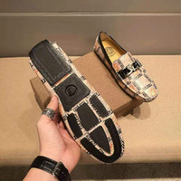 Wholesale party shoes bags resale online - Leather men s shoes European station new fashion wild breathable one pedal casual shoes with box and dust bag