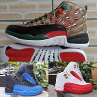 neue jahre schuhe großhandel-Chinesisches Neujahr 12 Basketball-Schuhe Herren Sport Designer Schuhe Schwarz Rot Blau Chicago Luxus Athletic RETRO CNY Turnschuhe 12S OVO siuze40-47