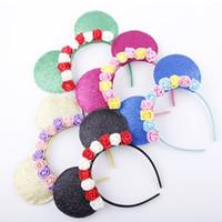 cintas para la cabeza de adultos al por mayor-Orejas de ratón adulto niño diadema fiesta de cumpleaños de mujeres del regalo del ratón Hairband de los niños accesorios para el cabello Orejas vendas de la flor LJJK1885