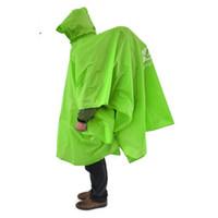 kamp yürüyüş yağmurluk toptan satış-3 in1 açık Yağmurluk Rüzgarlık İşlevli Kamp / Yürüyüş ceketler su geçirmez panço naylon Seyahat Tente Mat