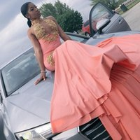Wholesale maternity dresses for prom resale online - 2019 Sexy Mermaid High Neck Prom Dresses With Gold Appliques Sexy Bodice Sweep Train Long Party Gowns For Black Girls vestidos