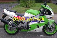 комплекты обтекателей для кавасаки zx6r оптовых-Комплект обтекателя мотоцикла для KAWASAKI Ninja ZX6R 636 94 95 96 97 ZX 6R 1994 1997 комплект ABS Greeen white + обтекатели + подарки KS03