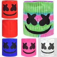satış kaskları toptan satış-Sıcak satış Marshmello DJ Maskesi Unisex Komik Oyuncaklar Şapkalar MarshMello DJ Şapka Tam Başkanı Kask Cadılar Bayramı Cosplay Maske Parti Cosplay Maskeleri