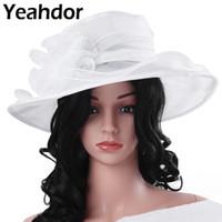 Wholesale wide brim organza hat for sale - Group buy White Wedding Bridal Cap Headdress Womens Girls Organza Wide Brim Sun Hat with Large Flower Church Party Wedding Cap Hairwear