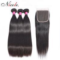 renk 32 saç örgüsü toptan satış-Nico Saç Malezya Düz Saç Örgü Demetleri ile Kapatma Doğal Renk Olmayan Remy İnsan Saç Dantel Kapatma ile 3 Demetleri