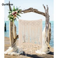 Wholesale decoration rustic for sale - Group buy DIY Boho Rustic Wedding Macrame Curtains Wall Photo Backdrop Handmade Cotton Summer Wedding Engagement Party Decoration