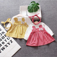 Wholesale baby girl long sleeved dresses for sale - Group buy Cotton lattice long sleeved baby girls dress with fancy headband O neck clothes girls cute mini girl kids dress