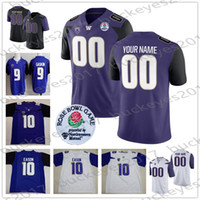 Wholesale Custom Washington Huskies Football Any Name Number Black Purple White Rose Bowl Jerseys Aaron Fuller Jacob Eason Salvon Ahmed