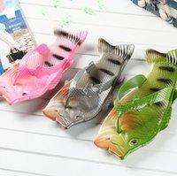 forme de la chaussure en sandale achat en gros de-Poisson forme pantoufles drôle pantoufles de douche unisexe plage d'été drôle chaussures de plein air sandales tongs LJJK1372