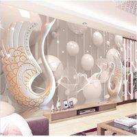 kuğular çiçekler toptan satış-Özel 3D Fotoğraf Kağıdı Modern 3D Anaglyph Kuğu Takı Çiçek Duvar TV Arka Plan Oturma Odası Yatak Odası Duvar 3D Duvar Kağıdı Rulo