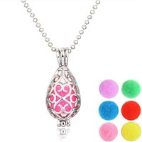 Wholesale diffuser pendant essential oils for sale - Group buy Women Dainty Perfume Necklace Essential Oil Diffuser Pendant Necklaces With quot Chain Color Refill Balls Christmas Gift B400Q F