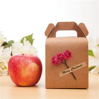 ingrosso scatole per mele caramelle-Fai da te vigilia di Natale scatole di imballaggio di Apple buon Natale girasole fiore cioccolatini scatola di caramelle carta kraft regalo portatile marrone 1 2jdC1