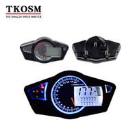 tacómetros digitales de motocicleta al por mayor-TKOSM 12V DC MPH / KMH motocicleta LCD Digital cuentakilómetros cuentakilómetros tacómetro instrumentos Balay accesorios para Racer velocímetro Yamaha FZ16