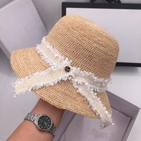 Wholesale grass shades for sale - Group buy Summer crochet lafite grass basin hat straw fisherman hat holiday beach shading sweet bowknot