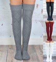 ingrosso lunghe gambe di calze-Calzini alti da bambina sopra il ginocchio Calzini lunghi invernali a maglia Scaldamuscoli da donna a maglia Calzini all'uncinetto a forma di rombo Calze femminili Calze autoreggenti