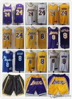 jarras de basquete amarelo venda por atacado-Homens Los AngelesLakers 24 KobeBryant 8 KobeBryant Basketball Shorts Basketball Jersey Yellow Cidade roxoEdição