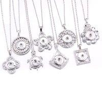 diy hat taş kolye toptan satış-Boom Hayat Yapış Takı Gümüş Metal Rhinestone Snap Düğmesi Kolye Kadınlar Kızlar Için 18mm Kolye Kolye DIY Takı