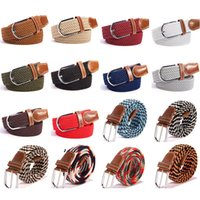 Wholesale stretch woven belt for sale - Group buy Fashion Unisex Elastic Stretch Belt Colors Women Casual Braided Waistband Creative Mens Woven Canvas Pin Buckle Belt TTA1061